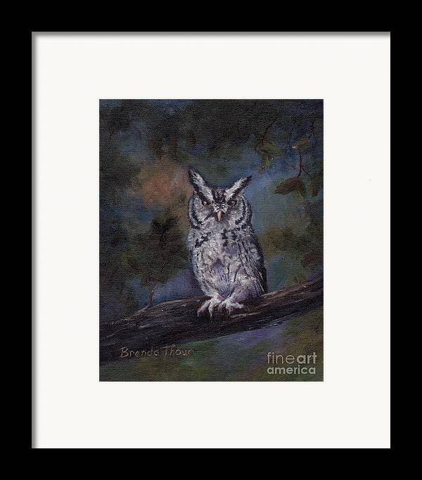 Owl Framed Print featuring the painting Screech Owl by Brenda Thour