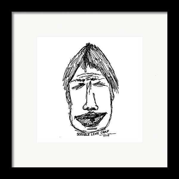 Drawing Framed Print featuring the drawing Scribble Line Face by Karl Addison