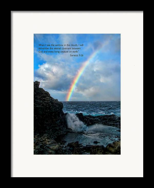 Scripture And Picture Genesis 9:16 Framed Print featuring the photograph Scripture And Picture Genesis 9 16 by Ken Smith