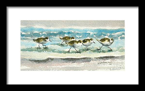 Sandpipers Framed Print featuring the painting Scurrying Along The Shoreline 2 1-6-16 by Julianne Felton