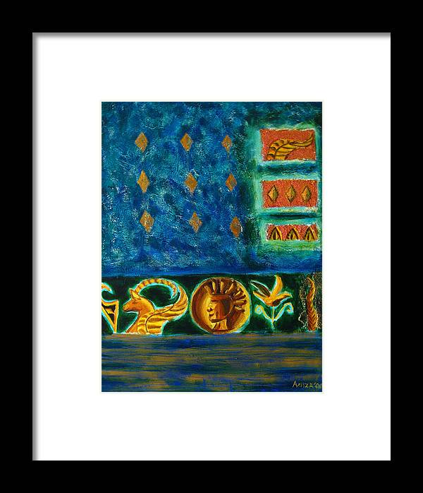 Abstract Framed Print featuring the painting Scythian Gold by Aliza Souleyeva-Alexander