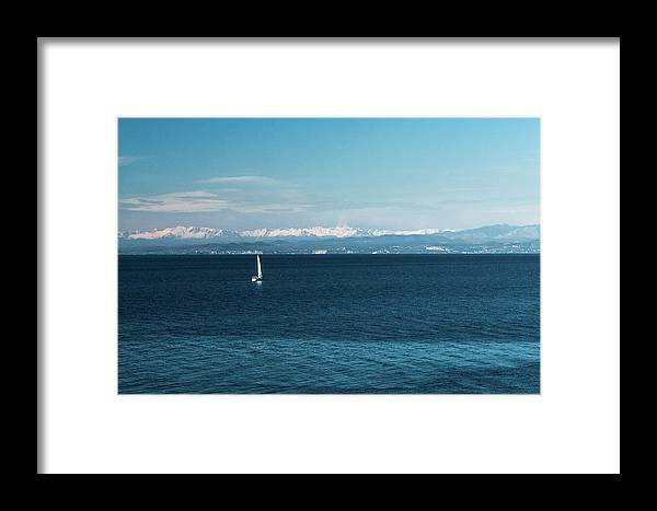 Landscape Framed Print featuring the photograph Sea And Snowy Alps by Jaka Korla