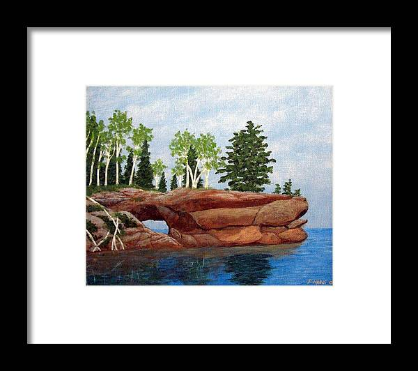 Landscape Paintings Framed Print featuring the painting Sea Cave by Frederic Kohli