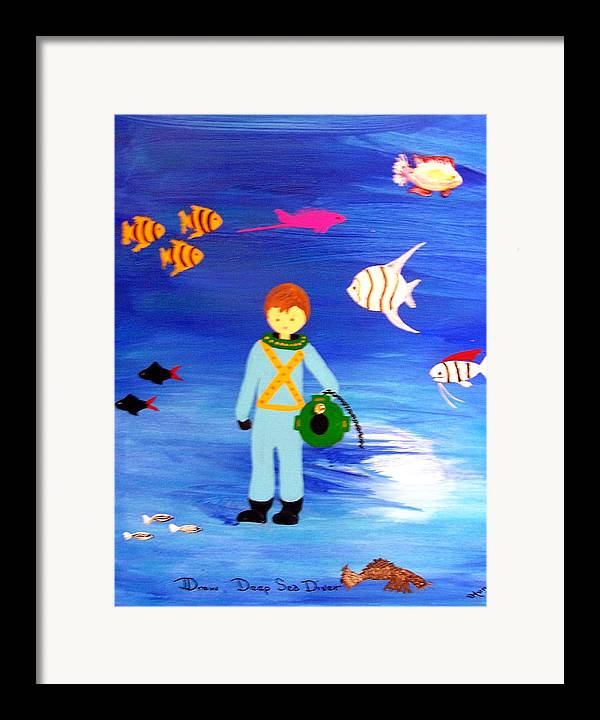 Children\\ Framed Print featuring the painting Sea Diver by Sandi Stonebraker