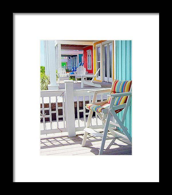 Beach Framed Print featuring the painting Sea Dreams Beach Chairs by Paul Little