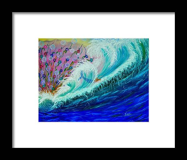 Ocean Framed Print featuring the painting Sea Fantasy by Kathern Welsh