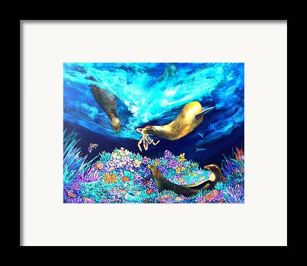 Ocean Framed Print featuring the painting Sea Garden by Dianne Roberson
