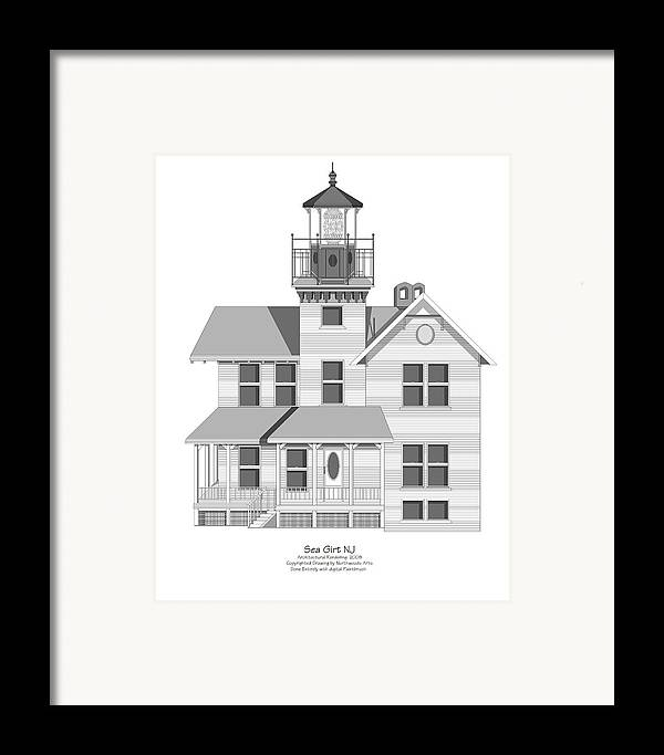 Lighthouse Framed Print featuring the painting Sea Girt New Jersey Architectural Drawing by Anne Norskog