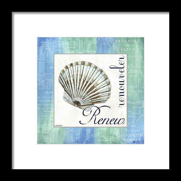 Shell Framed Print featuring the painting Sea Glass 2 by Debbie DeWitt