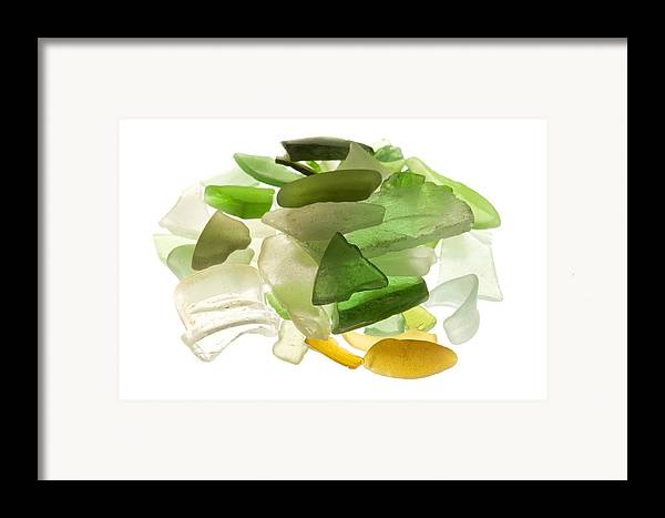 White Background Framed Print featuring the photograph Sea Glass by Fabrizio Troiani