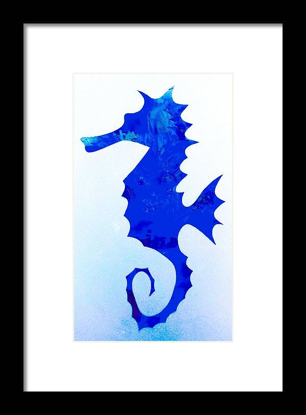 Sea Horse Framed Print featuring the painting Sea Horse Love 44 by Barry Knauff