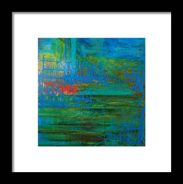 Contemporary Sea Lanscape Framed Print featuring the print Sea Ligthts by Meltem Quinlan