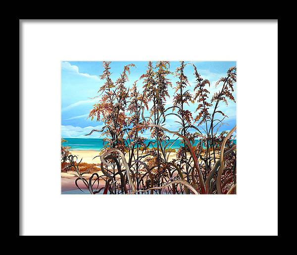 Ocean Painting Sea Oats Painting Beach Painting Seascape Painting Beach Painting Florida Painting Greeting Card Painting Framed Print featuring the painting Sea Oats by Karin Dawn Kelshall- Best