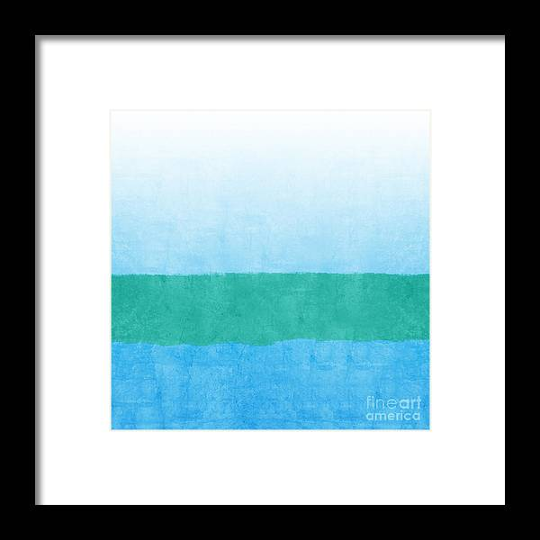 Abstract Framed Print featuring the mixed media Sea of Blues by Linda Woods