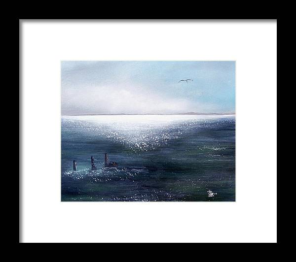 Seascape Framed Print featuring the painting Sea Of Glass by Tony Rodriguez