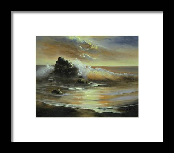 Seascape Framed Print featuring the painting Sea Of Gold by Joni McPherson