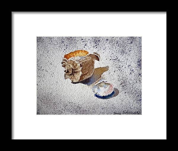 Sea Shells Framed Print featuring the painting Sea Shells by Irina Sztukowski