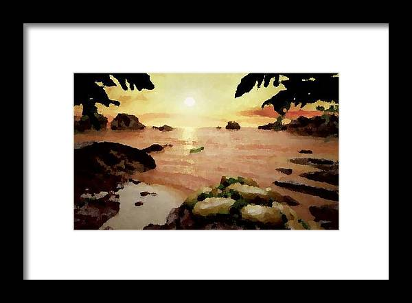 Landscape.coast.shore.trees.stones.sand.water.sunset Reflection.silence.rest.sun.sky. Framed Print featuring the digital art Sea Shore.sunset by Dr Loifer Vladimir