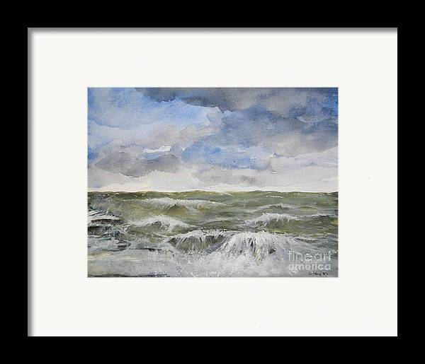 Seascape. Coast Framed Print featuring the painting Sea Storm by Sibby S