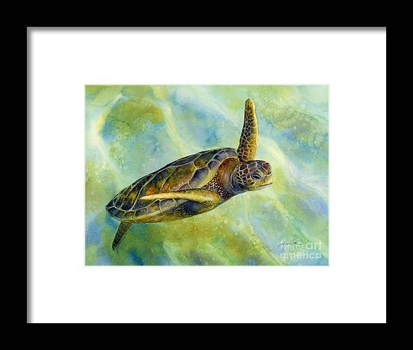 Underwater Framed Print featuring the painting Sea Turtle 2 by Hailey E Herrera