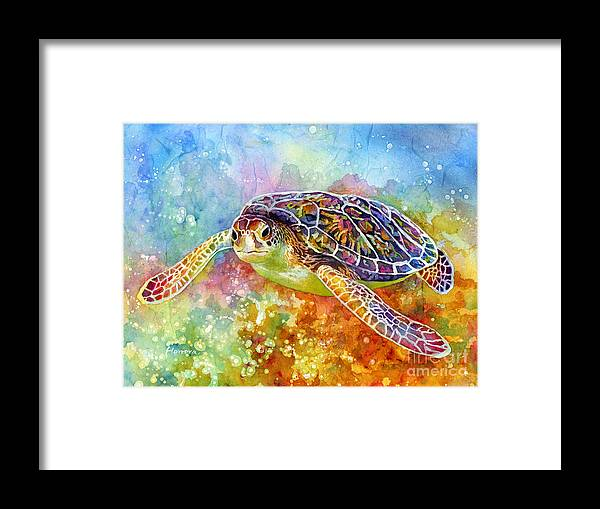 Turtle Framed Print featuring the painting Sea Turtle 3 by Hailey E Herrera