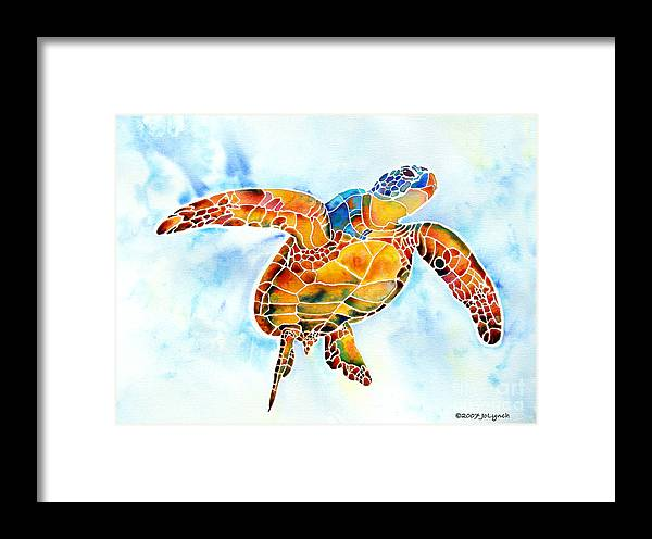 Sea Turtle Framed Print featuring the painting Sea Turtle Gentle Giant by Jo Lynch