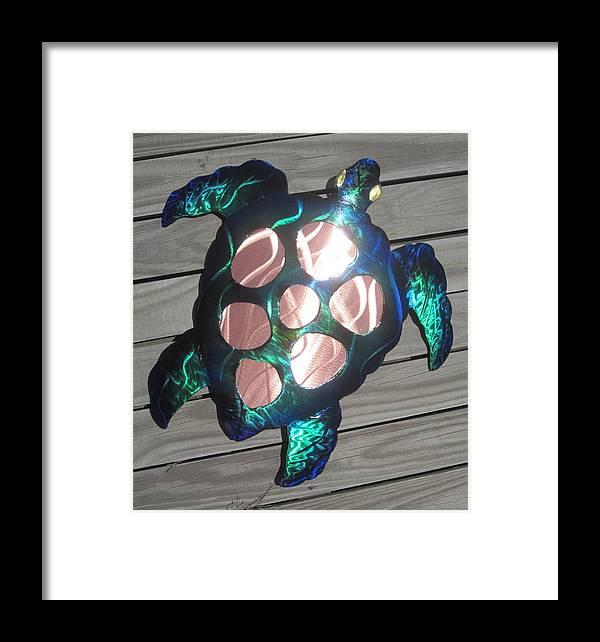 Sea Turtle Metal Wall Art Framed Print by Robert Blackwell