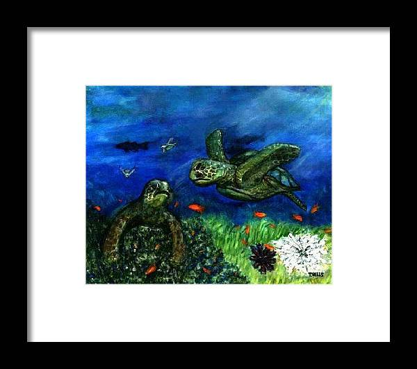 Sea Turtle Framed Print featuring the painting Sea Turtle Rendezvous by Tanna Lee M Wells