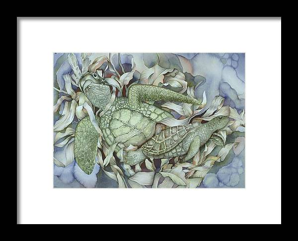 Sea Framed Print featuring the painting Sea Turtles Mum And Babe by Liduine Bekman