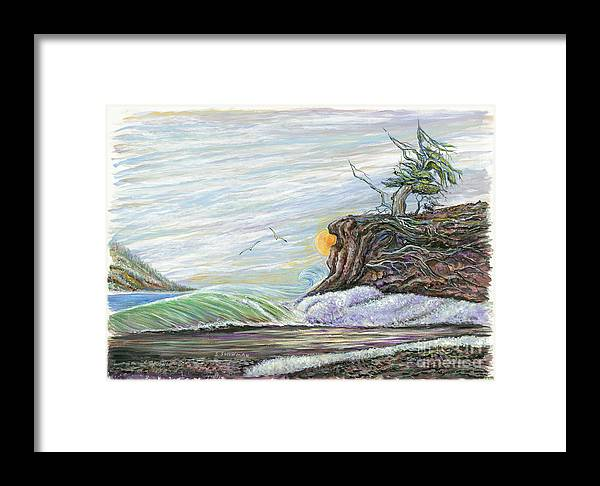 Sea Scape Framed Print featuring the painting Sea Waves With Clouds And Gulls by Samuel Showman