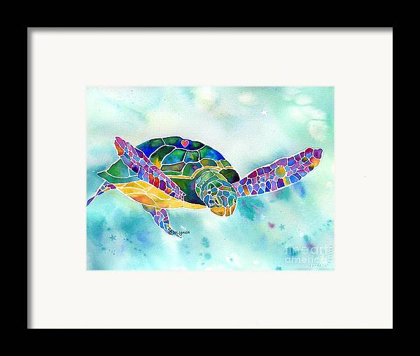 Sea Turtle Paintings Framed Print featuring the painting Sea Weed Sea Turtle by Jo Lynch