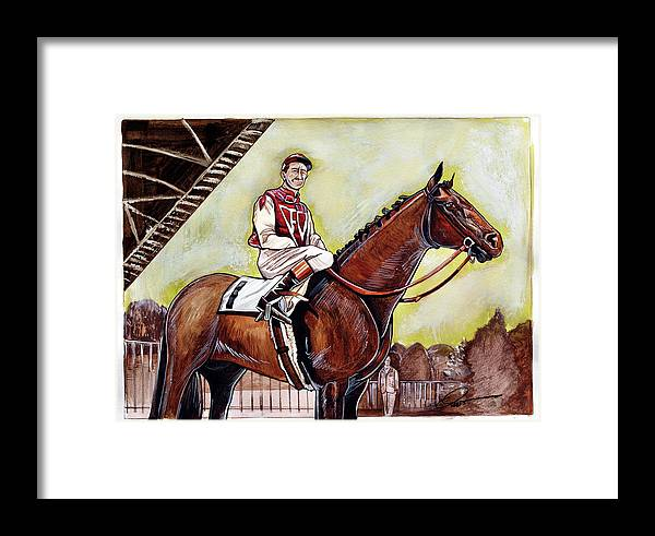 Seabiscuit Framed Print featuring the painting Seabiscuit by Dave Olsen