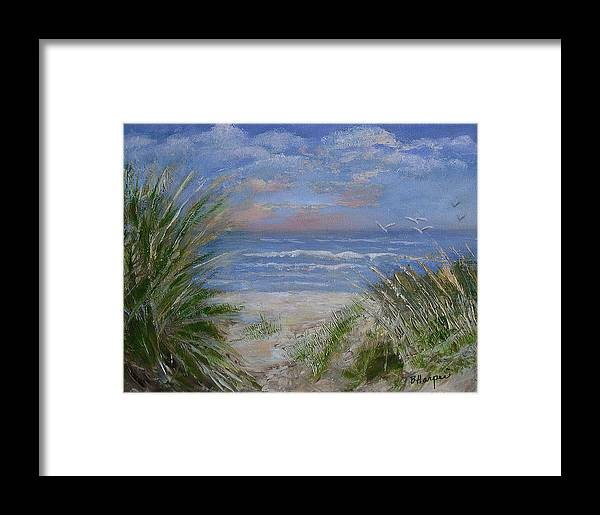 Seagrasses Framed Print featuring the painting Seagrasses At Sunrise by Barbara Harper