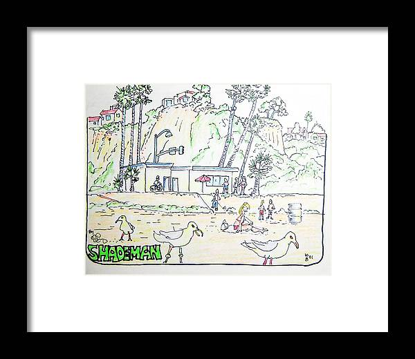 Beach Framed Print featuring the drawing Seagull Beach by Robert Findley