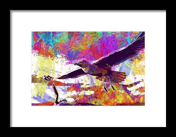 Seagull Framed Print featuring the digital art Seagull Birds Flight Wings Freedom by PixBreak Art