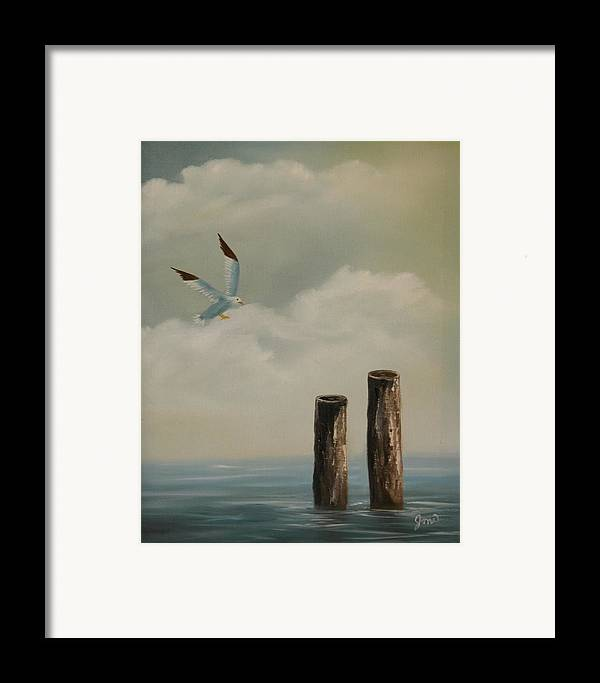 Seascape Framed Print featuring the painting Seagull Landing by Joni McPherson