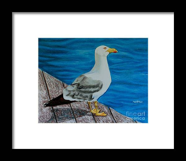 Animal Framed Print featuring the painting Seagull On The Shore - Gaviota En La Costa by Melvin Rodriguez