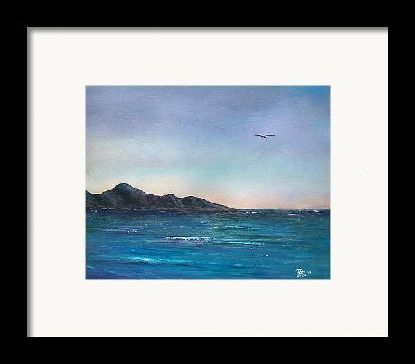 Seascapes. Seagull Framed Print featuring the painting Seagull Seascape by Tony Rodriguez