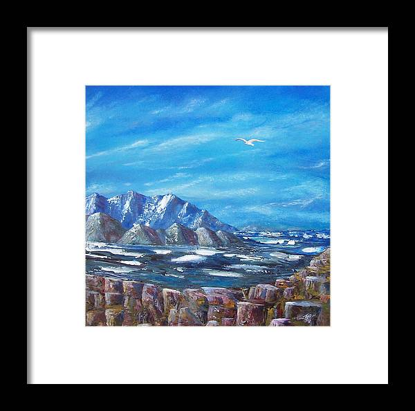 Seascape Framed Print featuring the painting Seagull Seascape V by Tony Rodriguez