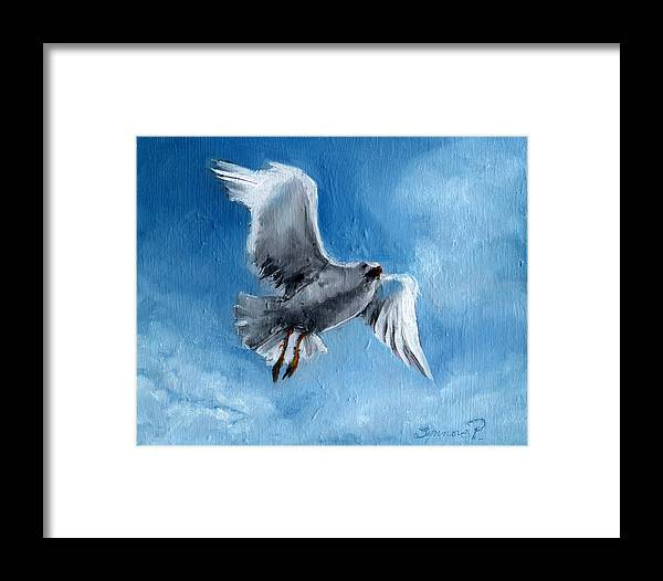 Seagull Framed Print featuring the painting Seagull by Synnove Pettersen
