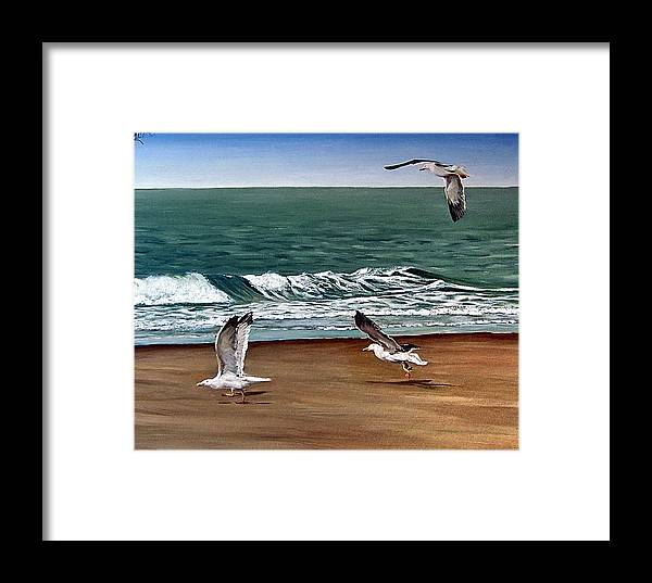 Seascape Framed Print featuring the painting Seagulls 2 by Natalia Tejera