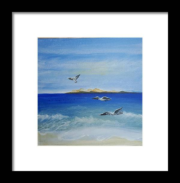 Seagull Framed Print featuring the painting Seagulls By The Sea by Magi Hosney Ezzat Naguib Mikhael