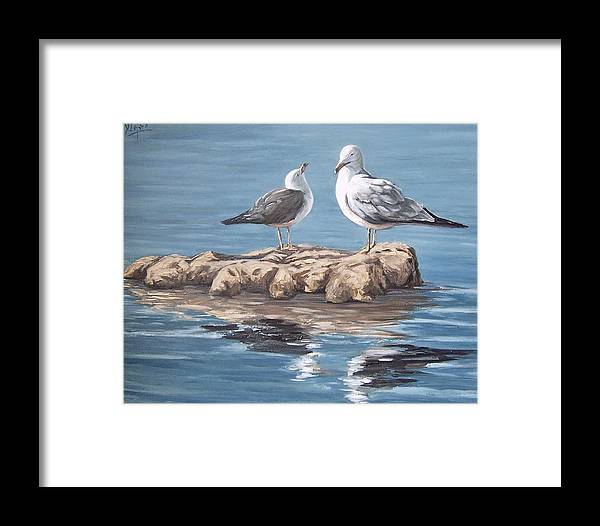 Seagulls Sea Seascape Water Bird Framed Print featuring the painting Seagulls In The Sea by Natalia Tejera