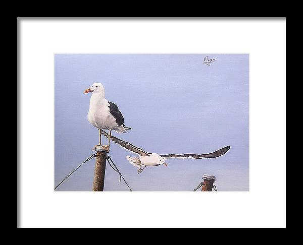 Seascape Gulls Bird Sea Framed Print featuring the painting Seagulls by Natalia Tejera