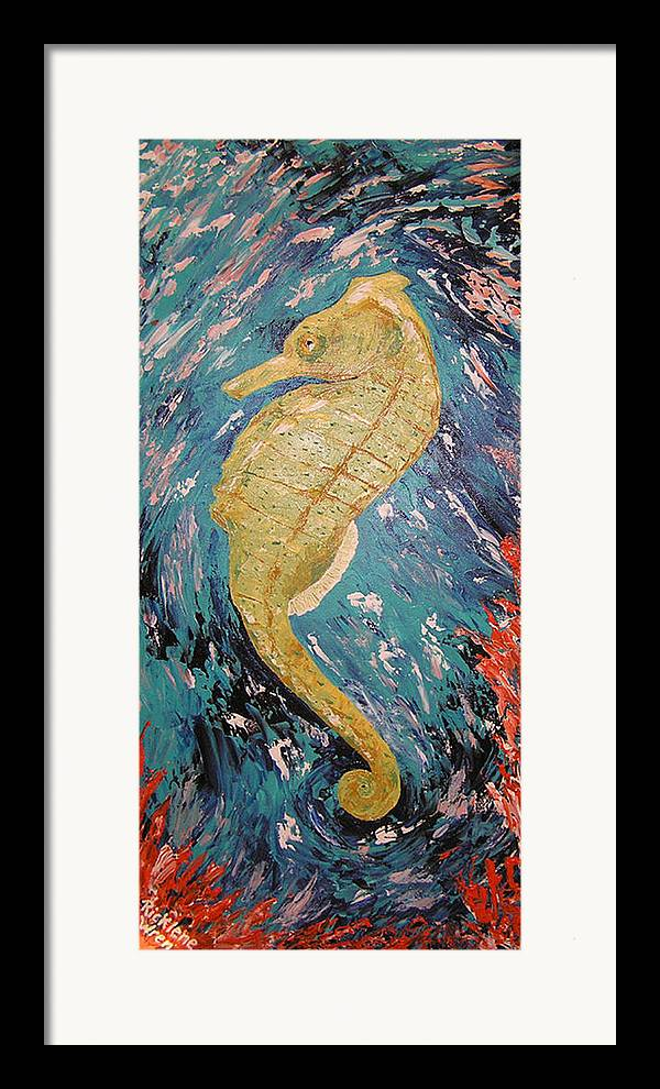 Seahorse Framed Print featuring the painting Seahorse Number 2 by Ricklene Wren