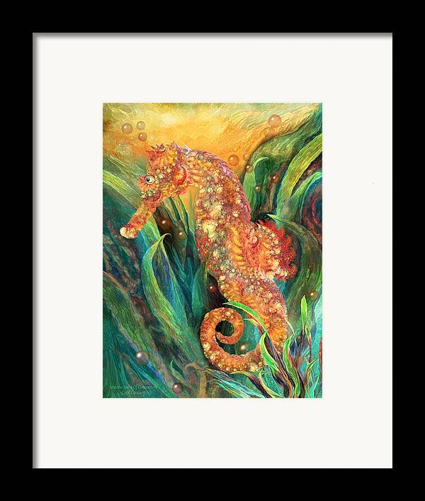 Carol Cavalaris Framed Print featuring the mixed media Seahorse - Spirit Of Contentment by Carol Cavalaris