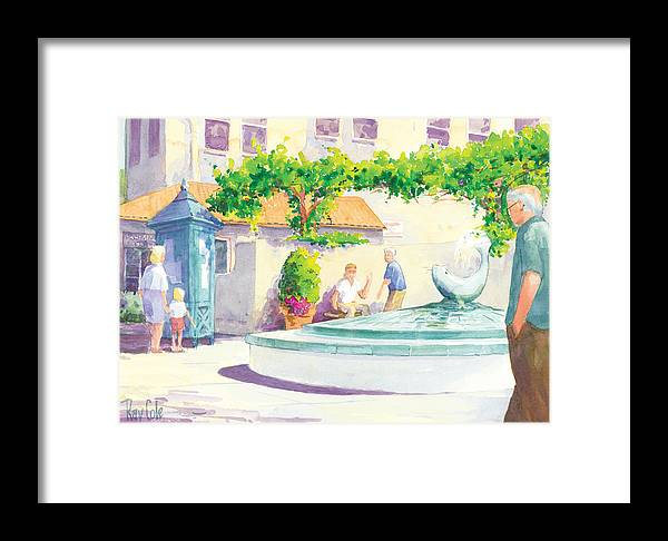 Landmark Framed Print featuring the painting Seal Fountain by Ray Cole