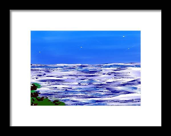 Sea.evening.night.silence.water.waves.deep Water.quiet .coast.sky.stars.calm.no Wind Framed Print featuring the digital art Sea.moon Light by Dr Loifer Vladimir
