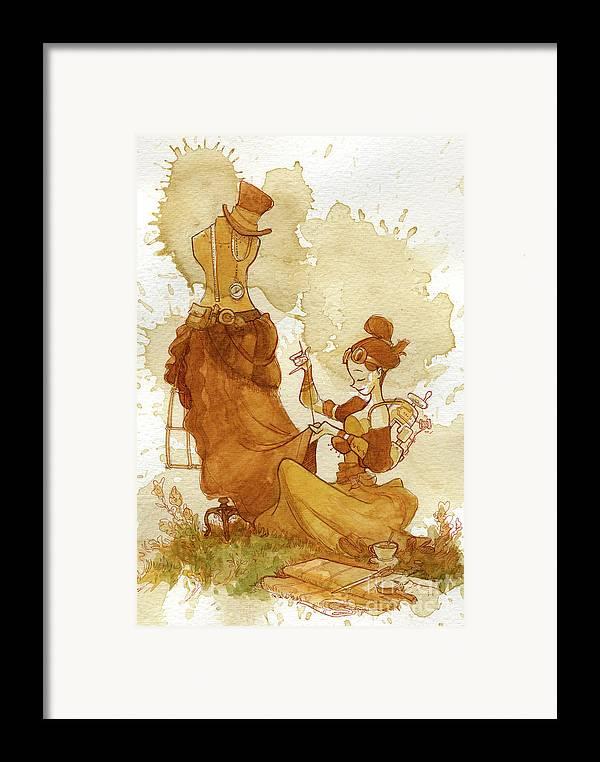 Steampunk Framed Print featuring the painting Seamstress by Brian Kesinger