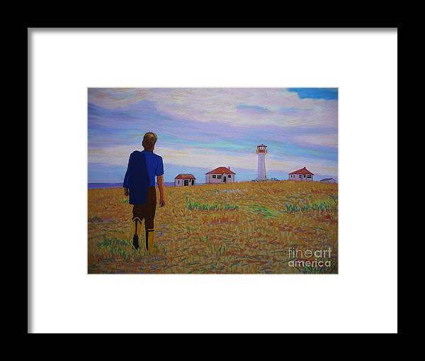 Lighthouses Framed Print featuring the pastel Sean's Visit To Cross Island Lighthouse by Rae Smith